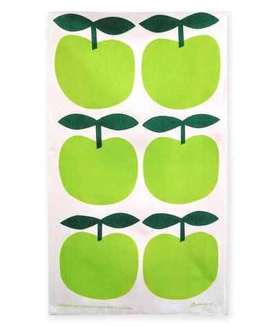 Big Apples - Bright Green Tea Towel