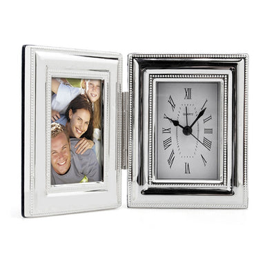 Silverplated Beaded Clock/Photo Frame