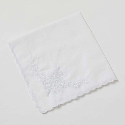 Embroidered Handkerchief - White Flowers