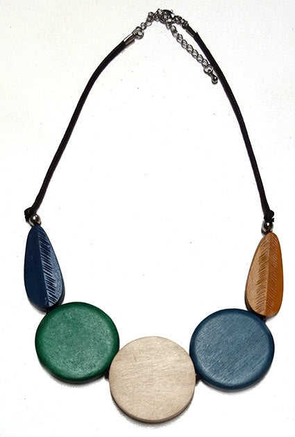 Round Discs & Leaf On Cord Necklace N-1109X