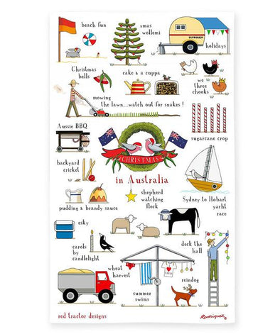 Red Tractor Christmas In Australia Tea Towel