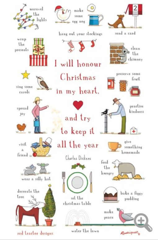 Red Tractor Xmas In My Heart Tea Towel
