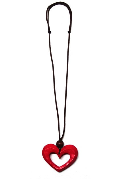 Red Cut Out Heart Necklace N6-346D
