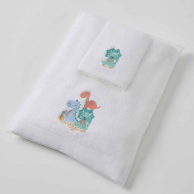 Green Dino Family Baby Towel / Face Washer Set