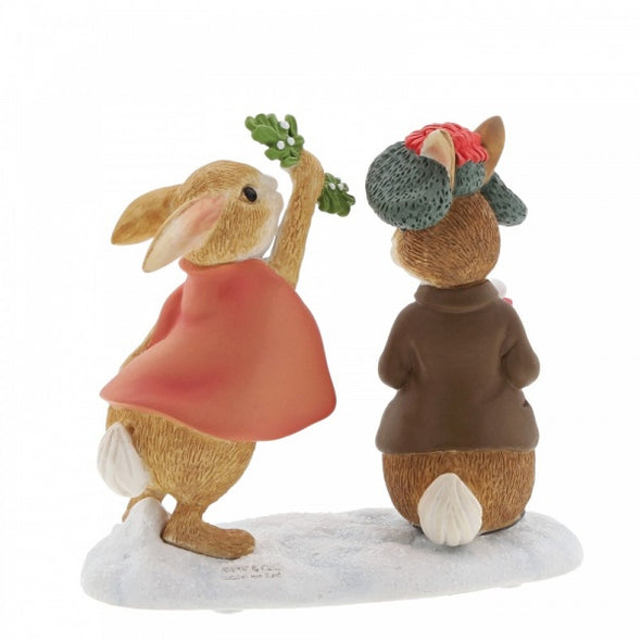 Flopsy and Benjamin Bunny Under the Misteltoe Figurine