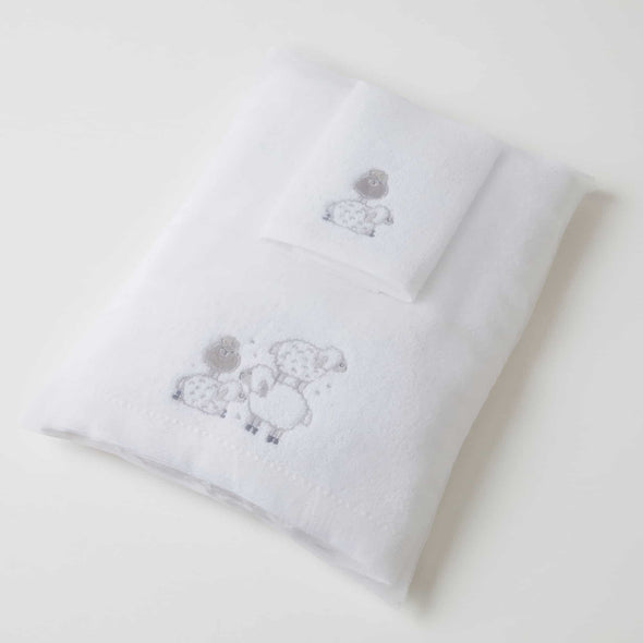 Baby Bath Towel and Face Washer Set - Sheep