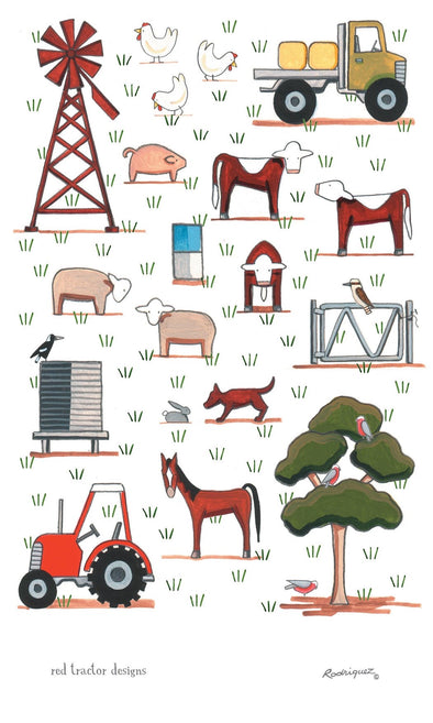 Red Tractor Mixed Farming Tea Towel