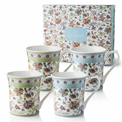 Queens Antique Floral Mugs - Set 4