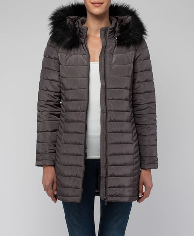 Jump Fur Trim Hooded Puffer Jacket