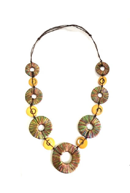 Multi Wood Bead Fabric Necklace N14-104EMU