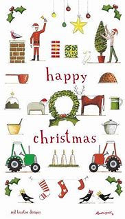 Red Tractor Happy Christmas Tea Towel