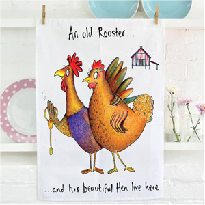 Hand Drawn Old Rooster Tea Towel