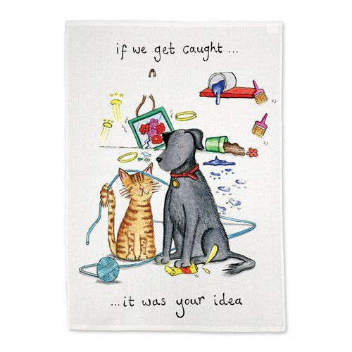 If We Get Caught Hand Drawn Tea Towel