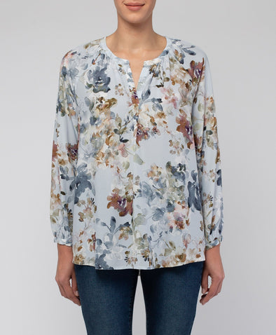 Jump Split Neck Autumn Floral Top