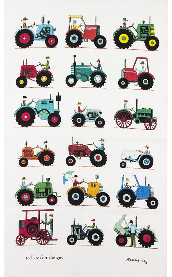 Red Tractor Tractor Show Tea Towel