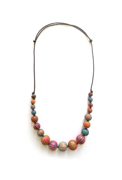 Multi Coloured Wood Ball Necklace N6-3490XY