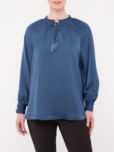 Ping Pong V Neck Button Detail Blouse