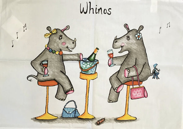 Hand Drawn Whinos Tea Towel
