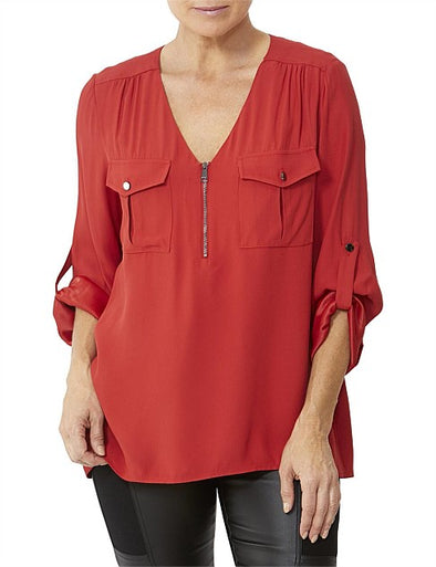 V Neck Zip Front Lustre Top