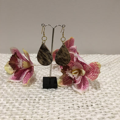 Tanzania Cowhide Teardrop Earrings