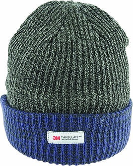 Rib Knit Beanie with contrast Cuff - Charcoal