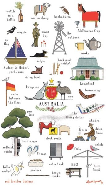Red Tractor This Is Australia Tea Towel