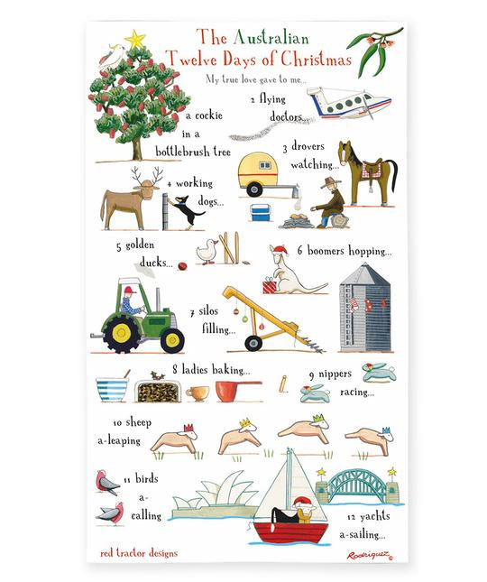 Red Tractor 12 Days of Christmas Tea Towel