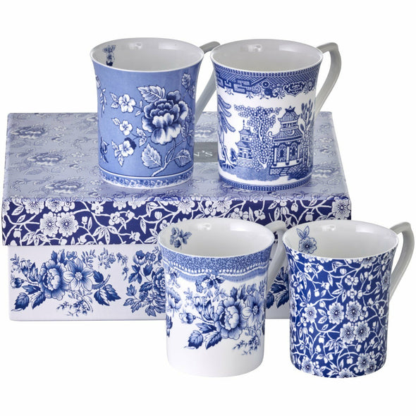 Queens Blue Story Mugs - Set 4