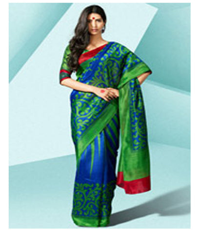 Dark Blue and Dark Green Art Silk Saree with Blouse - 140500036 - HAMALSTAR - 1