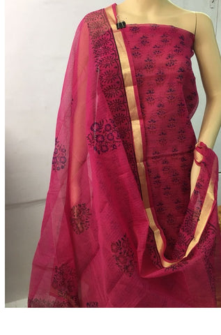 Churidar Material:- Top in   cotta  , Duppata in cotta and  Bottom in   Cotton  (Un-stitched) -190100218