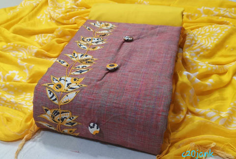 Churidar-Top Chandery,duppatta Pashmina,bottom cotton(unstiched)190100323