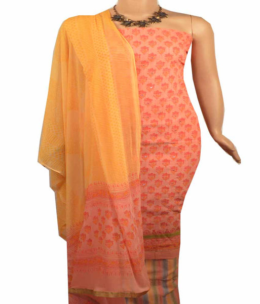 Churidar Material:- Top in   Chanderi  Cotton , Duppata in  Crape and  Bottom in   Cotton  (Un-stitched) - 180100074