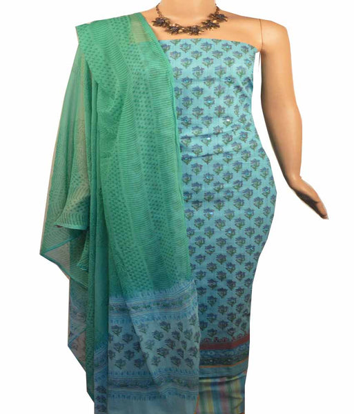 Churidar Material:- Top in   Chanderi  Cotton , Duppata in  Crape and  Bottom in   Cotton  (Un-stitched) - 180100073