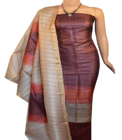 Churidar Material:- Top in   Tussar silk  , Duppata in Tussar Silk and  Bottom in   Cotton Silk (Un-stitched) -190100197