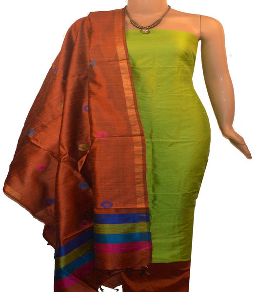 Churidar Material:-Top In Raw Silk  Duppata in Raw Silk and  Bottom in   Cotton Silk (Un-stitched) -190100033
