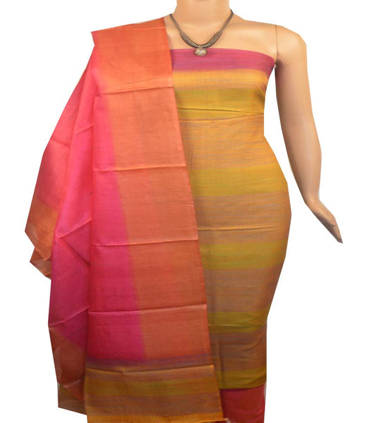Churidar Material:- Top in   Tussar silk  , Duppata in Tussar  Silk and  Bottom in   Cotton Silk (Un-stitched) -190100055