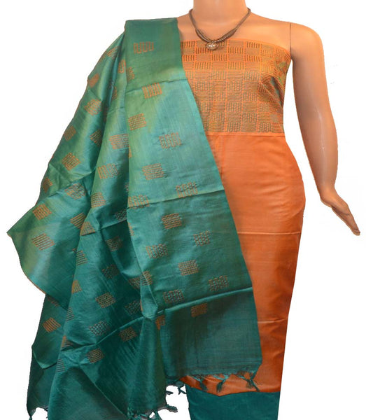 Churidar Material:- Top in   Tussar silk  , Duppata in Tussar  Silk and  Bottom in   Cotton Silk (Un-stitched) -180100512