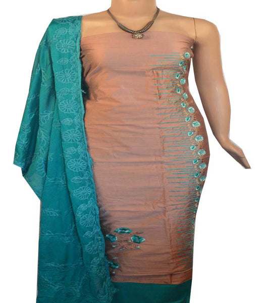 Churidar Material:- Top in   Chanderi  , Duppata in Crape Silk and  Bottom in   Cotton  (Un-stitched) -190100067