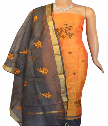 Churidar Material:- Top in    Chanderi , Duppata in Chanderi and  Bottom in   Cotton (Un-stitched) -180100352