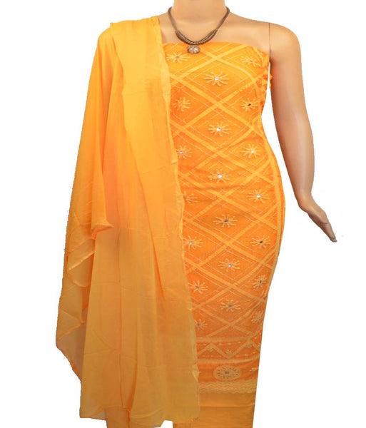 Churidar Material:- Top In Organty  , Duppata in  Crape  and  Bottom in  Cotton (Un-stitched)