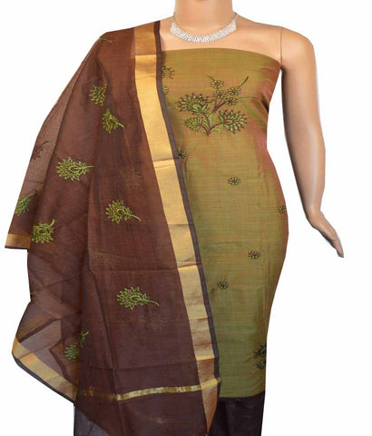 Churidar Material:- Top in    Chanderi , Duppata in Chanderi and  Bottom in   Cotton (Un-stitched) -180100353