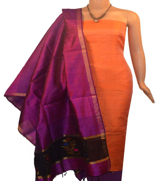 Churidar Material:-Top In Raw Silk  Duppata in Raw Silk and  Bottom in   Cotton Silk (Un-stitched) -190100029