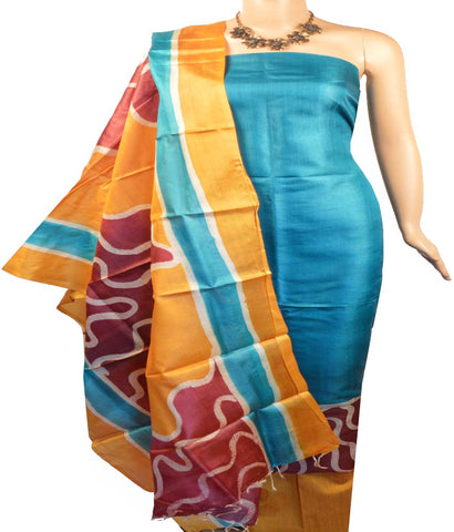 Churidar Material:- Top in Printed Tussar Silk , Duppata in Printed  Tussar Silk and Bottom in Row Cotton (Un-stitched)