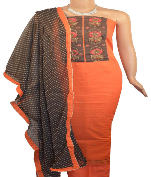 Churidar Material:- Top in   Cotton   , Duppata in Crape and  Bottom in   Cotton  (Un-stitched)
