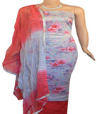 Churidar Material:- Top in   Cotton   , Duppata in Chiffon and  Bottom in   Cotton  (Un-stitched)