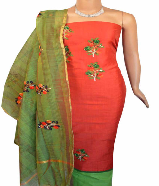 Churidar Material:- Top in    Chanderi , Duppata in Chanderi and  Bottom in   Cotton (Un-stitched) -180100354