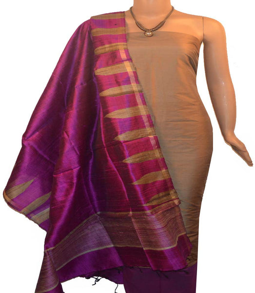 Churidar Material:-Top In Raw Silk  Duppata in Raw Silk and  Bottom in   Cotton Silk (Un-stitched) -190100028