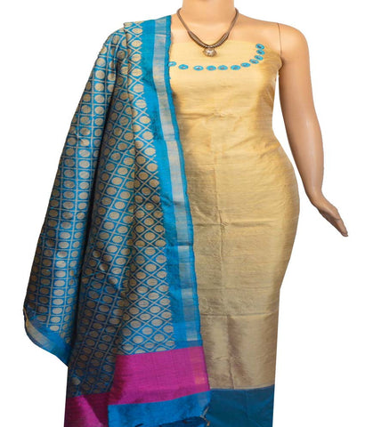 Churidar Material:- Top in Dupion  Raw  Silk , Duppata in Raw Silk  and  Bottom in  Cotton Silk (Un-stitched)