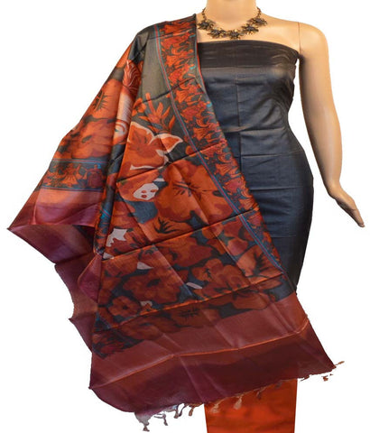Churidar Material:- Top in   Tussar Silk , Duppata in  Tussar Silk  and  Bottom in  Raw Cotton  (Un-stitched)