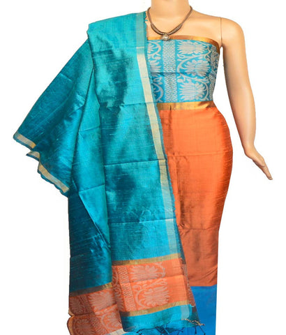 Churidar Material:- Top in   Raw Silk , Duppata in   Raw  Silk  and  Bottom in  Cotton Silk (Un-stitched)